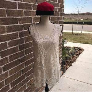 Express Ivory Embroidered Top